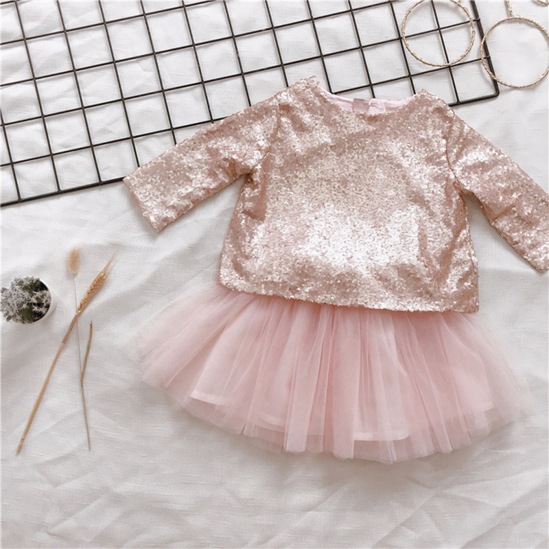 Pre-Sale Autumn Winter Pink Gold Sequins Tops&Lace Tulle TUTU Skirt Wedding Birthday Party Prince Dress for Baby Girl Kids pre sale autumn winter pink gold sequins tops