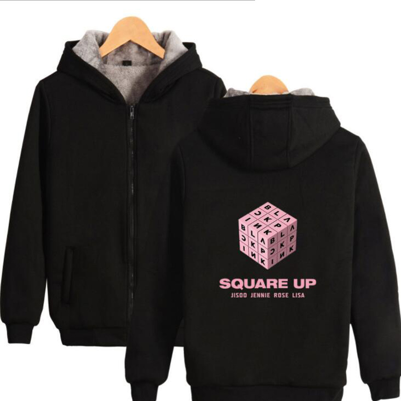 KPOP blackpink square up Album Women Hoodie Sweatshirt Korean Black Pink K POP Winter Thick Warm Hooded Zipper Jacket Outerwear
