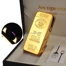ทองคำแท่งUSBชาร์จเบาบุหรี่ควันWindproof Arcเบา