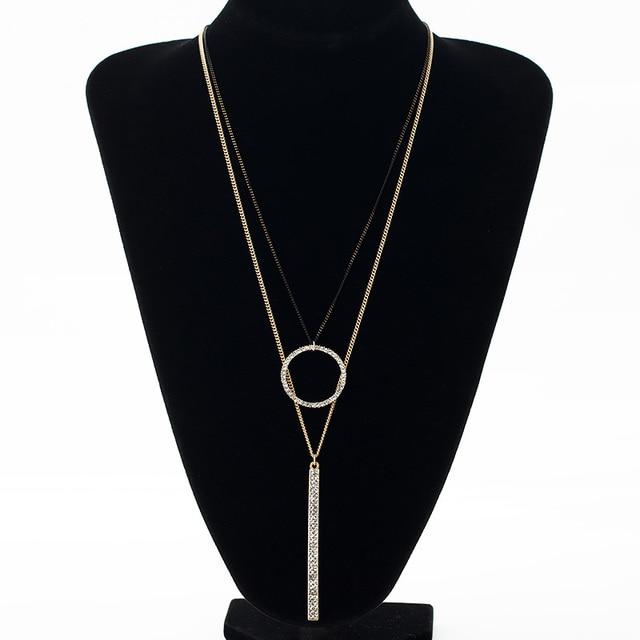 Stylish Long Double Metal Circle Pendant