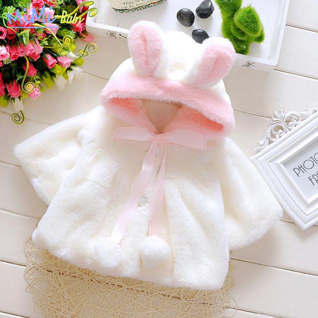 2016 Moda Outono e Inverno Crianças Bebê Meninas Coreano Princesa minnie Casaco de Pele De Coelho Jaqueta Casaco para a Menina da Roupa Do Bebê