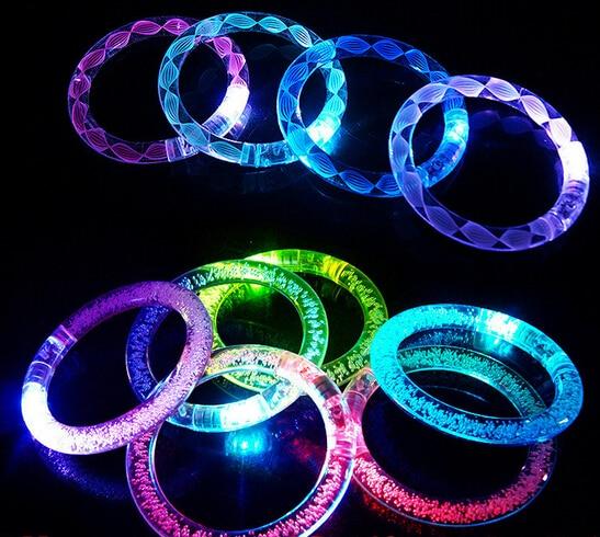 Colorful Changing LED Bracelet Light Up Bracelet Flashing Acrylic Glowing Bacelet Toys Party Decoration Supplies