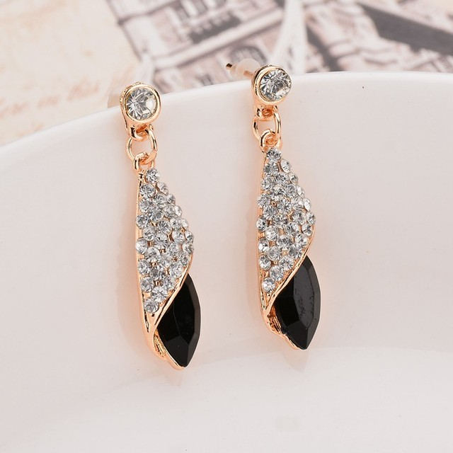 Fashion Brand Alloy Gold Colors Statement Austria Blue Crystal Long Earrings Rhinestone Water Drop Elegant Earring Jewelry 3