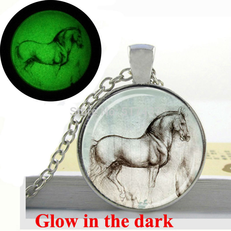 Glow in the Dark Pendant Da Vinci Drawing horse pendant necklace art photo glass cabochon necklace pendant Glowing jewelry