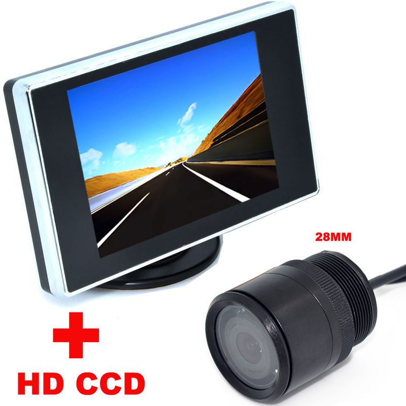 웃 유3.5 polegada de Cor LCD Monitor de Vídeo Do Carro + 28mm ...