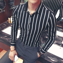 Mens Business Striped Shirt Casual Long Sleeve 2019 Spring New Fashion Slim Black White