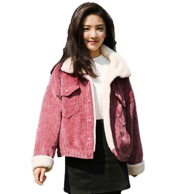Chaud Courte Femme fuchsia Mode Femmes Manteau Coton pink Khaki Caramel Veste D'agneau Laine 2018 shallow Colour De En Base D'hiver Épaissir qxfXBPfw8
