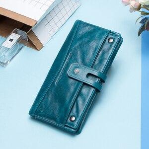 Image 5 - Contacts Fashion cartera de piel auténtica para mujer, cartera femenina de diseño largo, monedero, tarjetero, bolsillo para teléfono, alta calidad