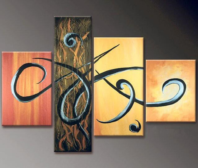Hand Painted Abstract Geometric Oil Painting on Canvas Modern ...