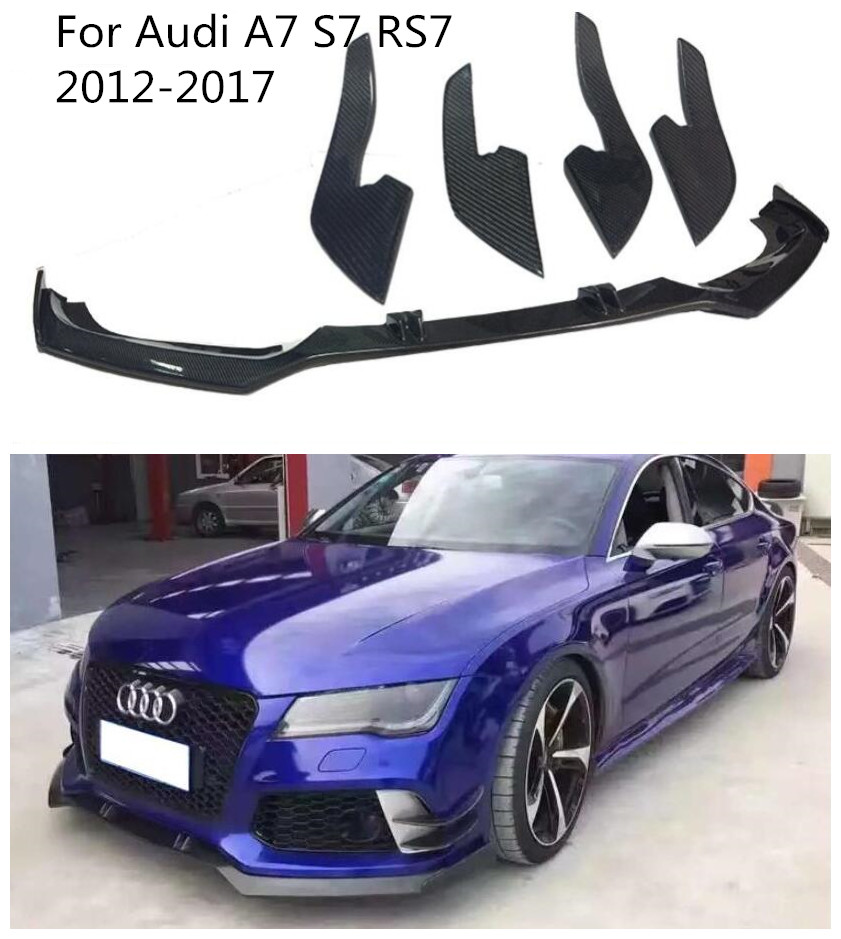 High quality Carbon Fiber Car Bumper Front Lip Spoiler Diffuser Cover  Car Front Diffuser 5pcs/Set For Audi A7 S7 RS7 2012 2017 Bumpers     - title=
