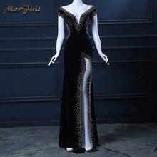Вечернее платье, черное, длина до пола, на заказ, v-образный вырез, платье для выпускного вечера, сексуальное, звездное, коктейльное платье, ночное, с открытой спиной, красивое, длинное платье русалки
