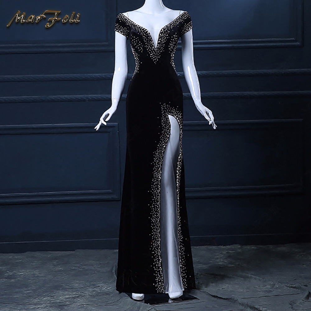 Black Floor-Length Full manual black Sexy Star full dress Evening dress Cocktail dress Night entertainment venue dress LF0107 ...