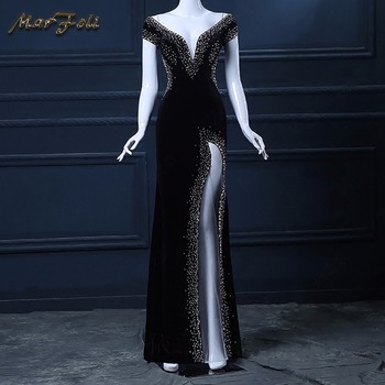 Evening dress Black Floor-Length custom V-neck prom gown Sexy Star Cocktail dress Night backless ever pretty mermaid long dress