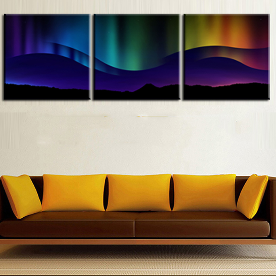 Wall Art Home Decoration Frame Poster Painting 3 Panel Aurora Landscape For Living Room Modern HD Printed Canvas Pictures