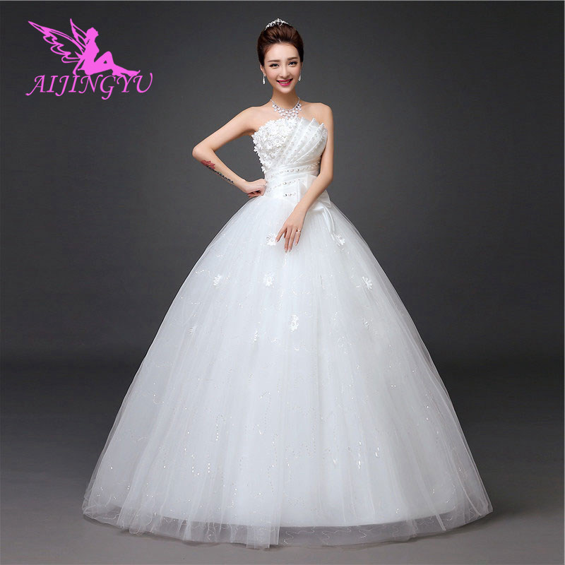 AIJINGYU 2018 Girl Free Shipping New Hot Selling Cheap Ball Gown Lace Up Back Formal Bride Dresses Wedding Dress WK841