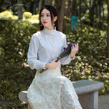 2016 Summer Women Blouse shirt Elegant Retro White Long sleeve  Stand Collar Basic Blusa Top