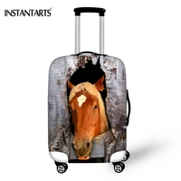 INSTANTARTS 3D Wood Hole Horse Head Printed Travel Luggage Protective Thicken Covers For Trunk Case Apply