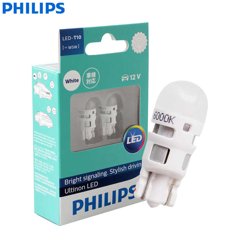 Philips Ultinon LED T10 W5W 194 12V 11961ULWX2 6000K Cool White Car Turn Signal Lamps Interior Light Clearance Light (Twin Pack)