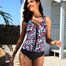2019 Floral Printed Swimwear for Women's Plus size One-piece Swimsuit Sexy Monokinis Cute Flower Beachwear Bathing Suit(S-5XL) women one piece swimsuit plus size swimwear patchwork swimming dress bathing suit black sexy monokinis beachwear