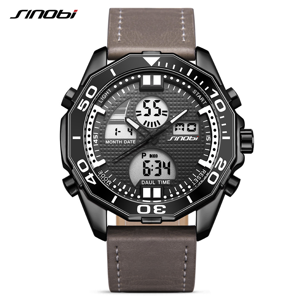 Sinobi Top Luxury Brand Digital Quartz Watch Men Waterproof Sport Men's Leather & Steel Military Wrist Watch relogio masculino sinobi men s top luxury brand sport watches men led digital waterproof stainess steel quartz watch man clock relogio masculino