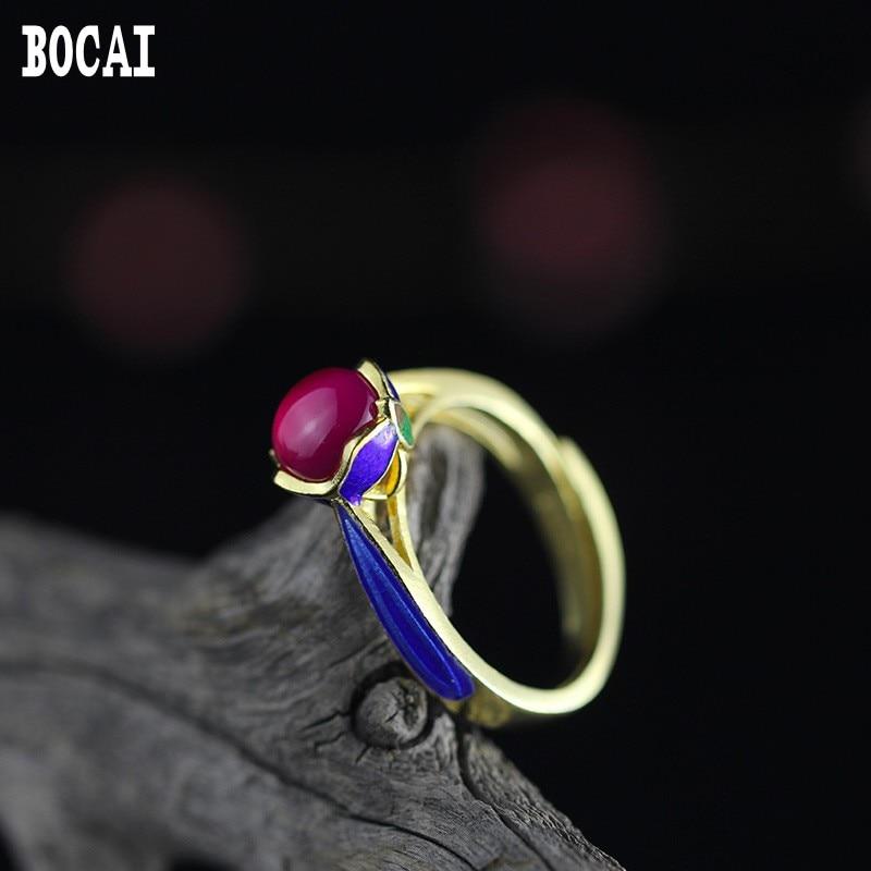 925 silver  DIY Sukhothai silver jewelry handmade cloisonne enamel craft stone ring wholesale grape