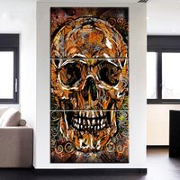 Modern 3 Pcs Canvas Art Christmas Halloween Home Decoration Posters HD Prints Skull Head Painting Wall