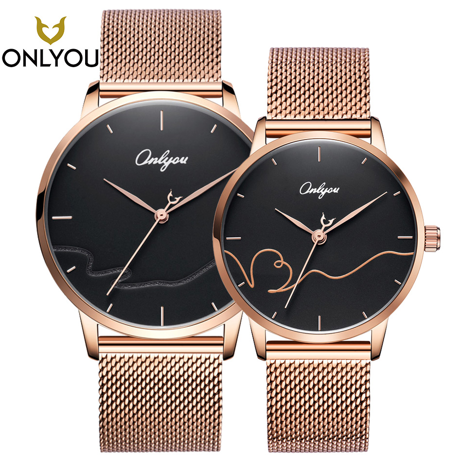 ONLYOU 2pcs Fashion Lovers Watch Gold Stainless Steel Men Luxury Quartz Watches Creative Genuine Leather for Ladies Black montre onlyou new fashion black men wristwatches leather watchband lovers watch luxury brand simple quartz watches women clock montre