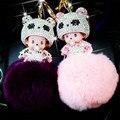 Envío gratis Linda Monchichi muñeca llavero Rhinestone pompón de Piel de Conejo Bola de Pom Pom Llavero Bolso Colgante del coche al por mayor de Las Mujeres
