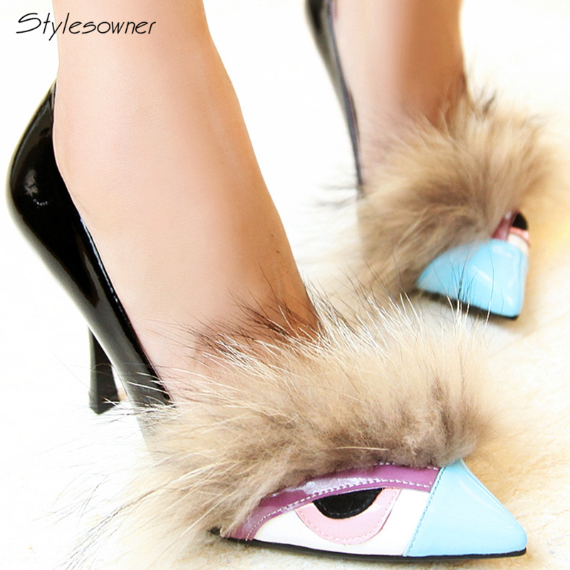 Stylesowner Fashion Women Slip On Pointed Toe Genuine Patent Leather Pumps Real Fur Novelty Design High Quality Sexy Party ShoesStylesowner Fashion Women Slip On Pointed Toe Genuine Patent Leather Pumps Real Fur Novelty Design High Quality Sexy Party Shoes