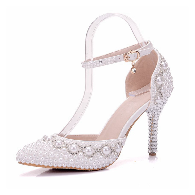 2018 Summer White Pearl Diamond Bride Shoes High Heels Ankle Strap Shoes  Female Sandals Stage Sweet Wedding Shoes XY B0083-in High Heels from Shoes  on ... 0ebdfb62a93c