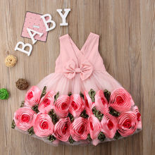 Girls Princess Rose Flower Dress 2019 New Sleeveless Children Party And Evening Dresses Girls Pink Lace Tutu Dress Kids Clothing kseniya kids 2018 spring summer new children s clothing lace princess mesh lace sleeveless girls dresses for party and wedding