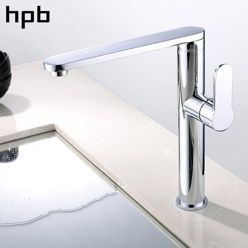 HPB 360 Degree Rotary Kitchen Faucet Brass White Chrome Finish Sink Mixer Tap Hot And Cold Water Contemporary Style IFC102