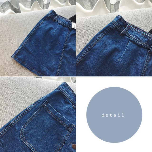 Double Pocket Button High Waist Women Denim Skirt 2019 New Fashion Package Hip Casual Cintage A-line Summer Skirt 5