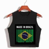 Wykonane w Brazylii Sexy Czarny feminino harajuku lato kobiet topy camiseta przycięte top centrum academia feminino upraw rękawów