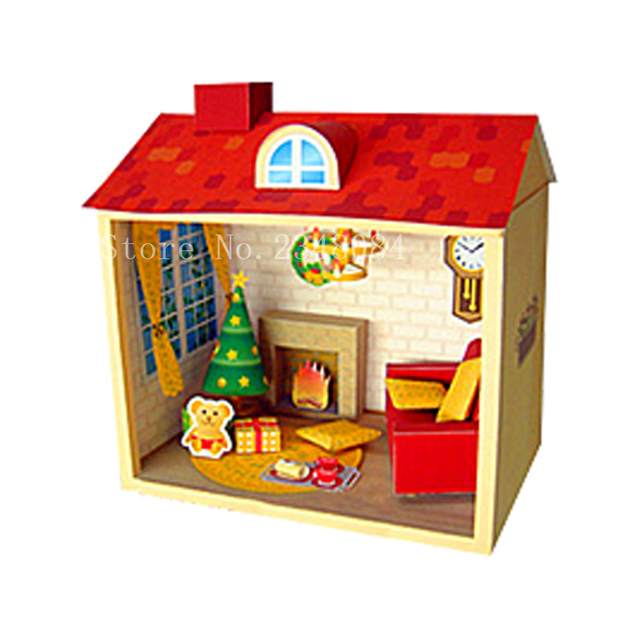 US $15 94  Japanese 3D Paper Model Buildings Christmas House Paper Craft  Cube DIY Manual Puzzle Handmade Papercraft Toys for Children-in Model