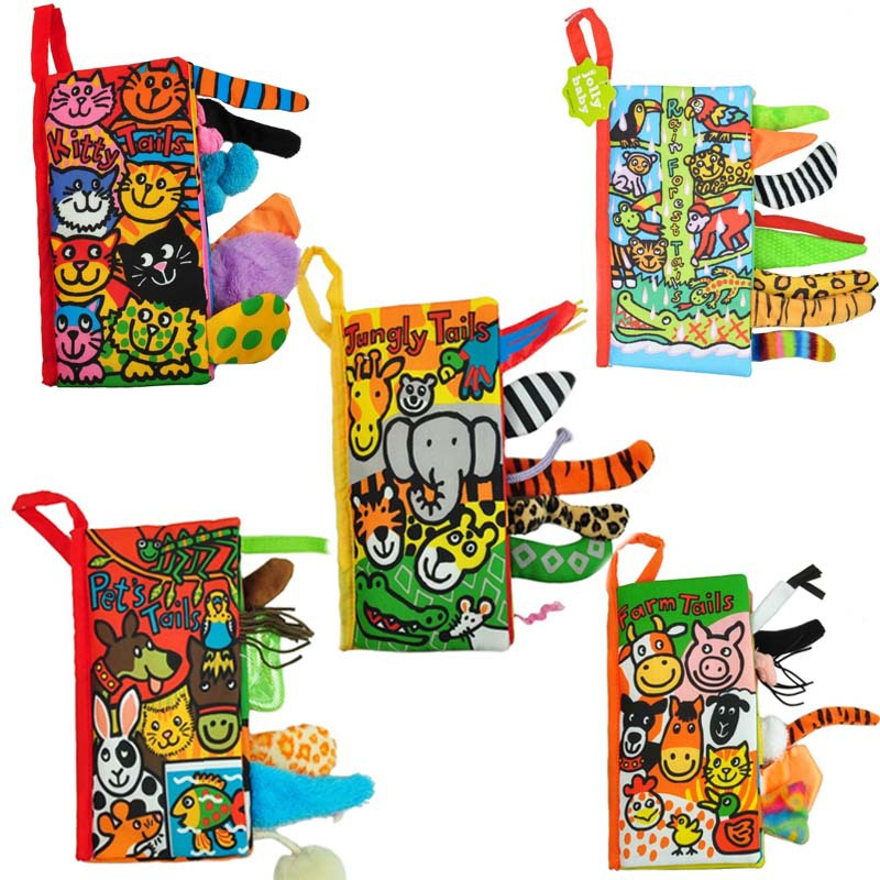 Baby Soft 3D Quiet Cloth Book Early Education Unfolding Kids Activity Reading Rattle Toys For Baby Newborn Animal Tails Books