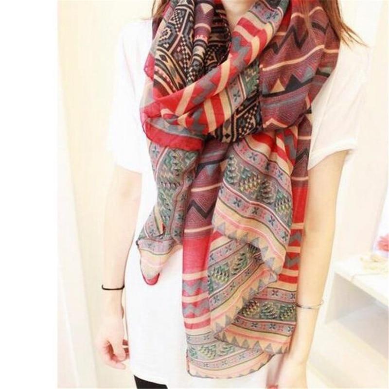 New Fashion Trendy Bohemian Women's Long Print Scarf Wrap Ladies Shawl Girl Large Pretty Scarf Tole Styles CC0624
