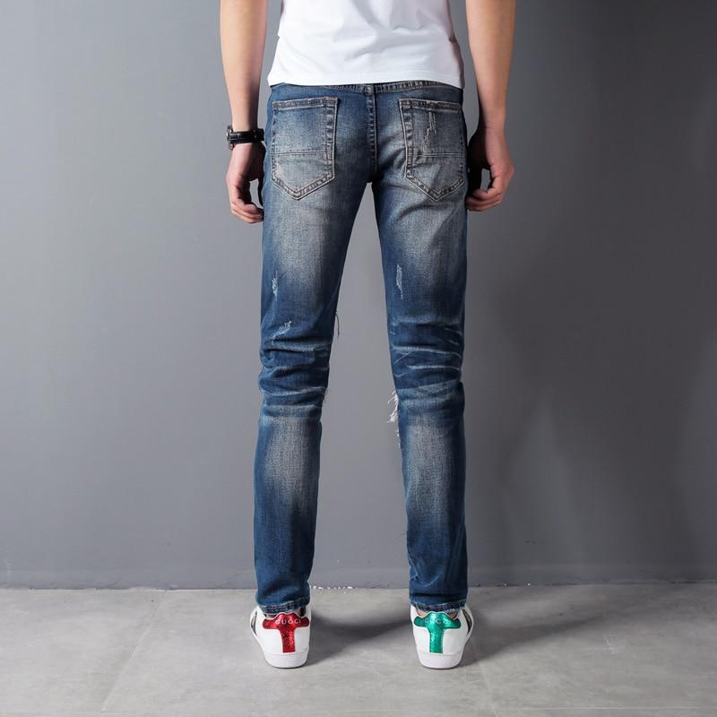 Blue Color Destroyed Ripped Jeans Men Patchwork Embroidery Denim Punk Pants Hip Hop Jeans High Street Brand Mens Biker Jeans