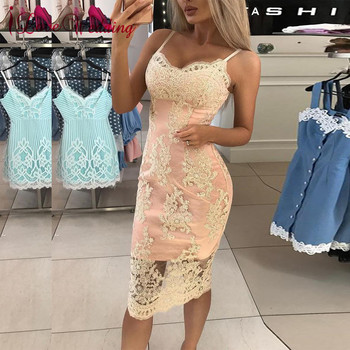 New Fashion 2019 Cocktail Dresses Lace Applique Short Dress Spaghetti Straps Pink Party Gowns for Special Occasions Robe Cocktai