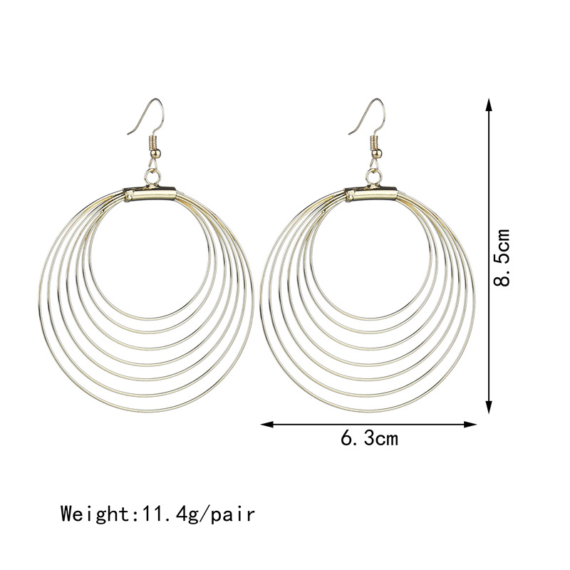 2018 New Seven layers design Bohemian Multilayer Round Earrings Punk Style  Big Gold Drop Earring for Women Party Jewelry gift-in Drop Earrings from  Jewelry ... 9a1b62ecd796