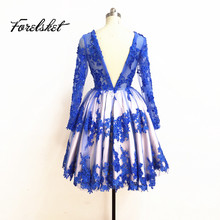 custom made lace prom dresses 2017 ball gown short evening dresses Pregnant women dress Beaded Long Sleeve Prom Dress hot sell