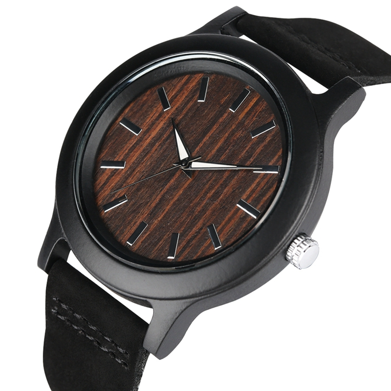 цены Black Face Dial Wooden Watch Men Quartz Analog Clock Fashion Genuine Leather Band Christmas Gift for Men Women reloj para hombre