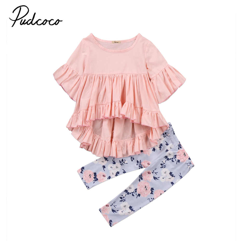 Baby Ruffles Set Autumn Spring Clothes 0-3YrsToddler Kids Baby Girls Floral Clothes Outfits T-shirt Tops + Floral Long Pants Set