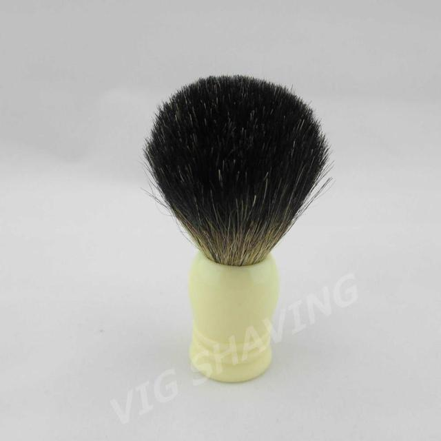BL0322BL Black Pure Badger Shaving Brush Faux Ivory color  Resion Handle