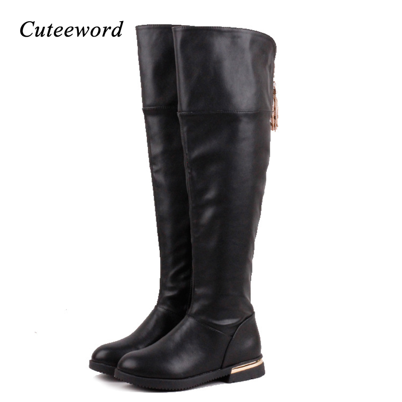Winter girls boots fashion children over the knee boots warm cotton shoes tassel zipper high heels kids leather boots for girls