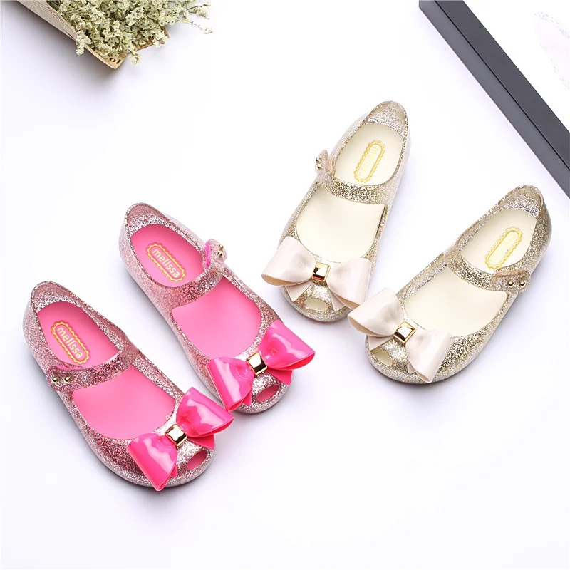 Melissa 2018 Girls Jelly Sandals Big Bow Antiskid Children Sandals Bow Jelly Princess Shoes 15-18CM Girls Shoes Melissa