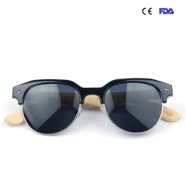 82b2047e76a6 Polarized Wooden Sunglasses Men and Women Semi-Rimless Frame Bamboo Revo  Lens Round Brand Designer Vintage Eyewear Oculo KC1205
