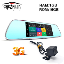 3G WCDMA Android 5.0 7 inch Car Camera DVR Bluetooth FM WIFI Dual Lens rearview mirror Camcorder Dash cam dvrs