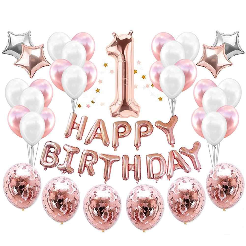 1 er cumpleaños fiesta decoración niños globos DIY número 1 primer globo látex Baby Shower niño niña niños favores 37 uds/set40