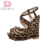 DoraTasia 2018 Large Size 34 41 Wedge High Heels Women Pumps Buckle Strap Leopard Print Platform Shoes Wrapped Woman Pumps